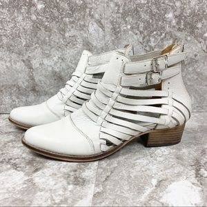 Nasty Gal Shoe Cult White Leather Strappy Booties